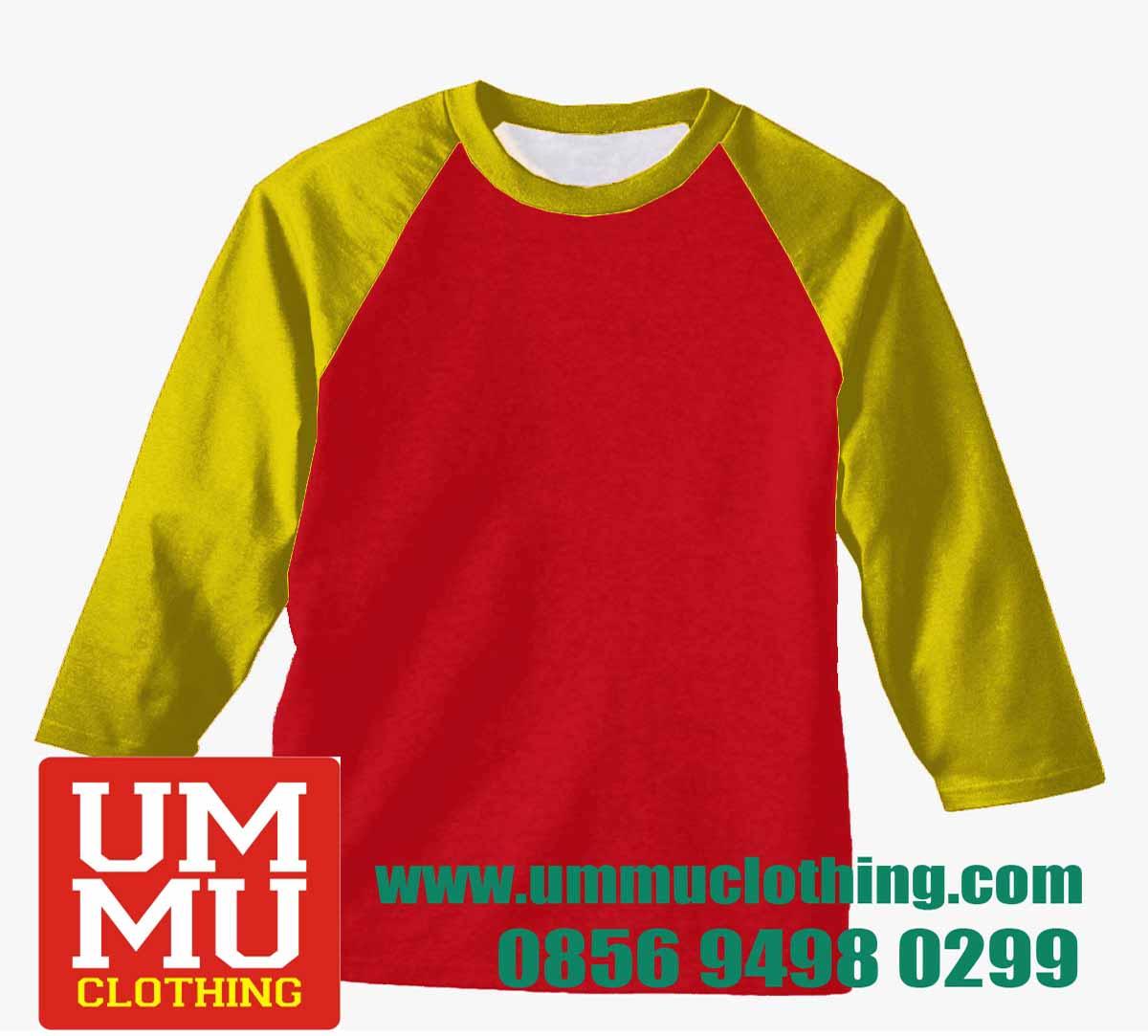 Kaos Polos Raglan Merah Kuning Ummu Gambar Warna